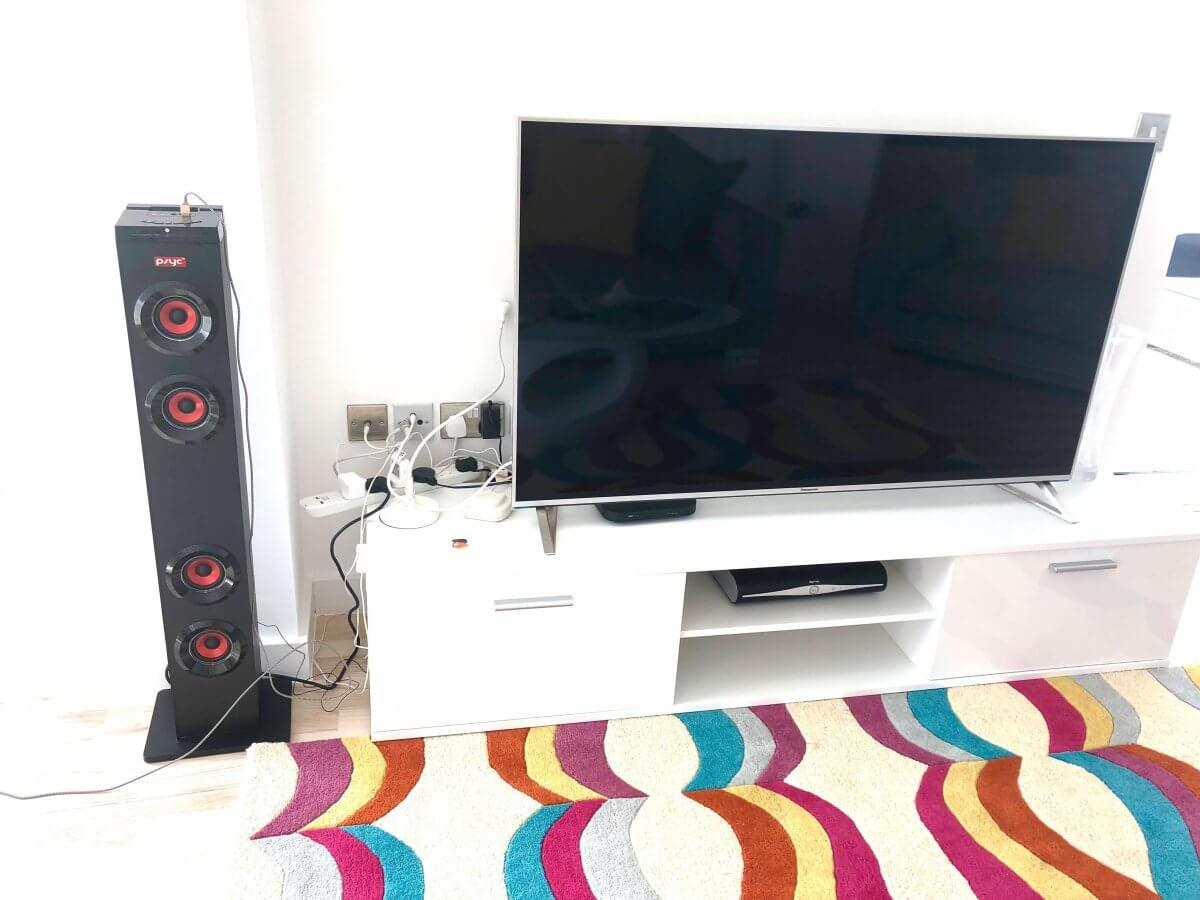 Large tv and speakers in Cardiff living room
