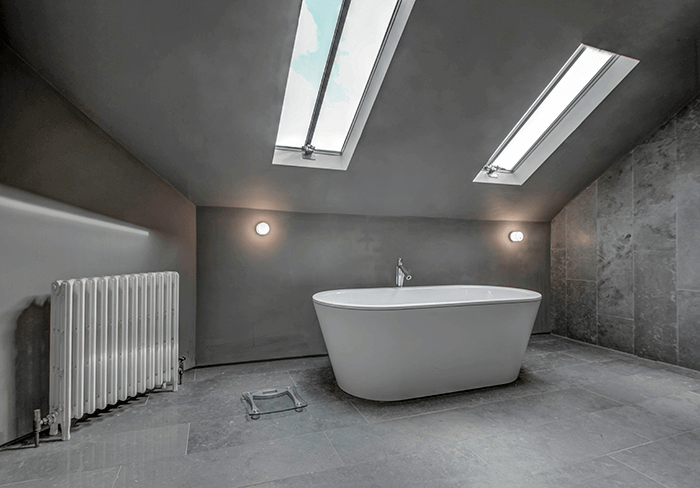 Extremely modern bathroom with freestanding bath in Oxford
